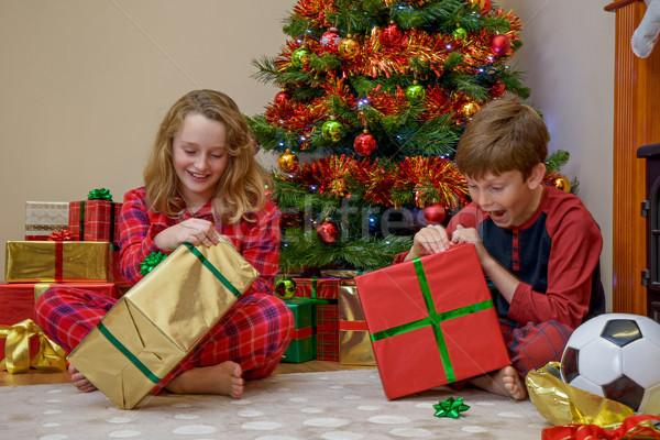 Сток-фото: детей · открытие · Рождества · представляет · два · мальчика