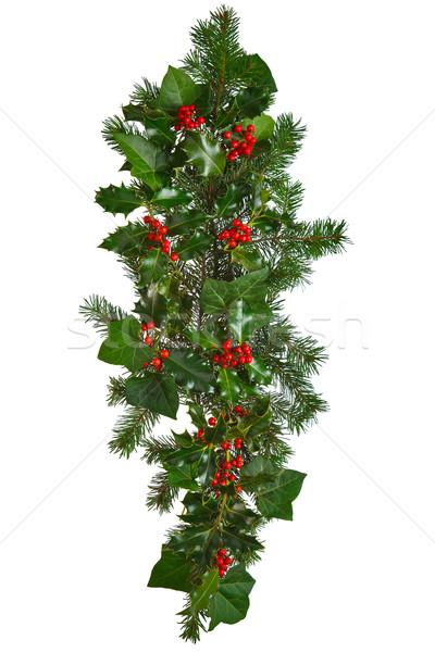 Droite Noël guirlande isolé photo rouge Photo stock © RTimages