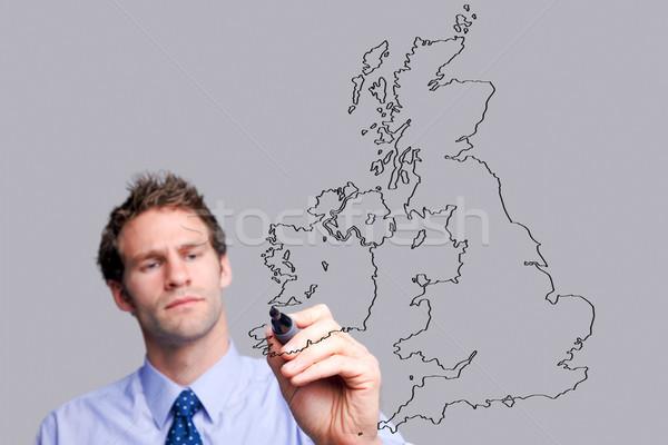 Stock fotó: üzletember · rajz · üveg · képernyő · térkép · saját