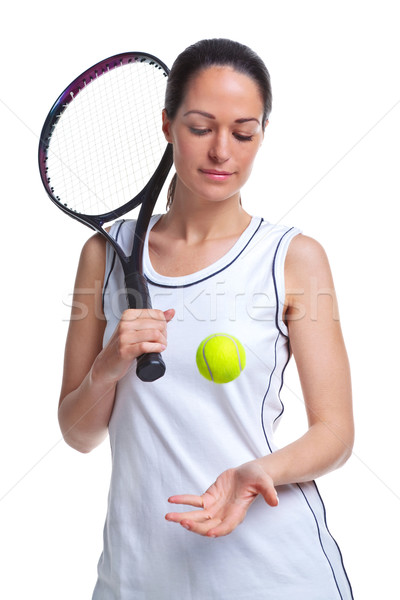 Woman tennis player throwing the ball up Stock photo © RTimages