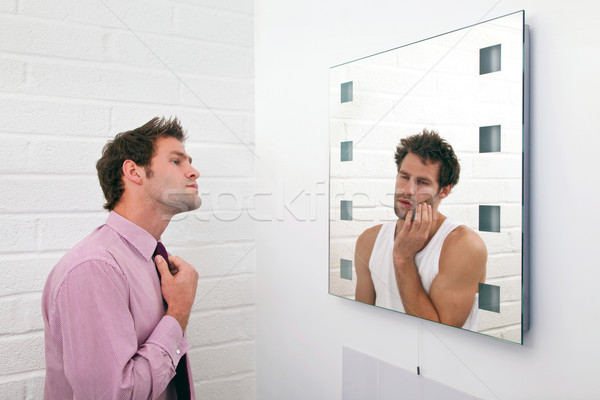 Dos listo manana imagen hombre espejo Foto stock © RTimages
