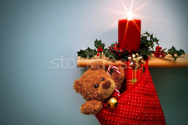 Karácsony harisnya ajándékok gyertya fotó medve Stock fotó © RTimages
