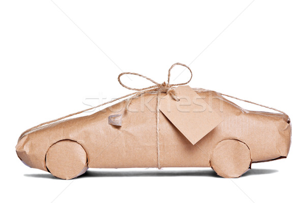 Car wrapped in brown paper cut out Stock photo © RTimages