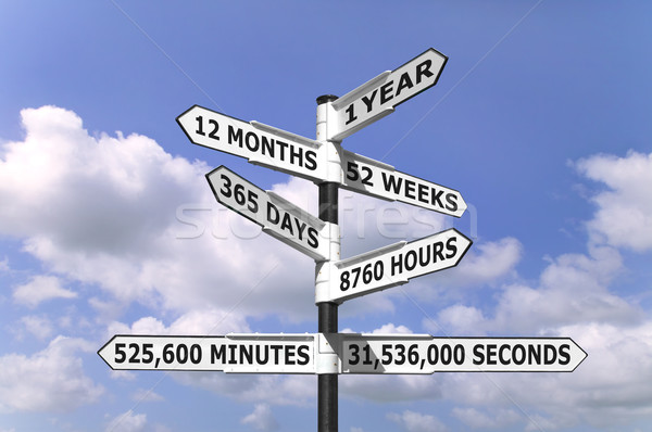 1 Year signpost Stock photo © RTimages