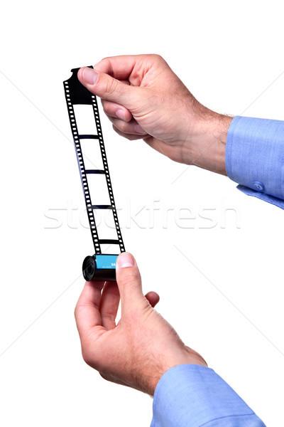 Blanco negro rodar película manos 35mm Foto stock © RTimages