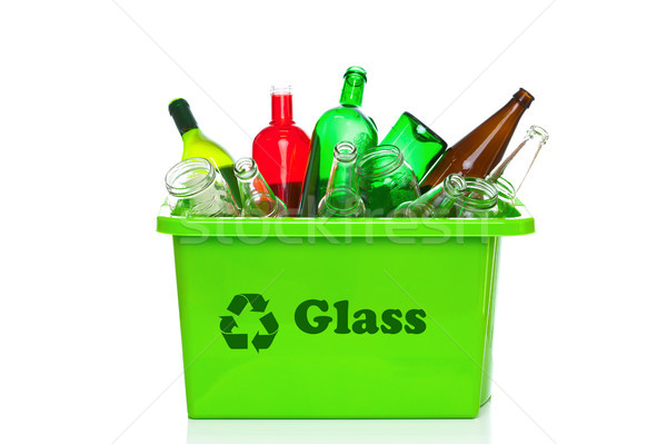 Green glass recycling bin isolated on white Stock photo © RTimages