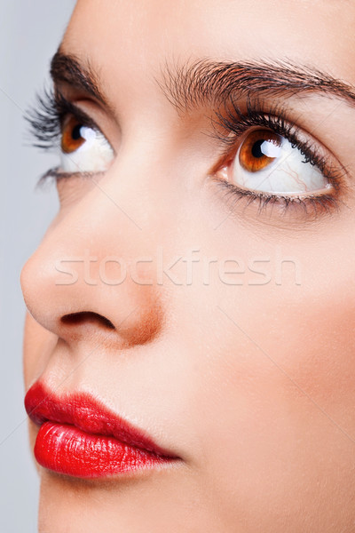 Brown eyes and red lips Stock photo © RTimages
