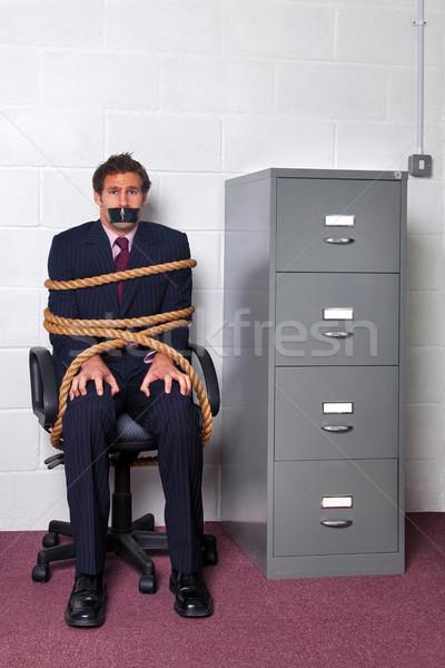Zakenman omhoog kantoor bureaustoel touw kijken Stockfoto © RTimages