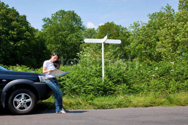 Woman reading a map by the roadside with blank signpost. Stock photo © RTimages