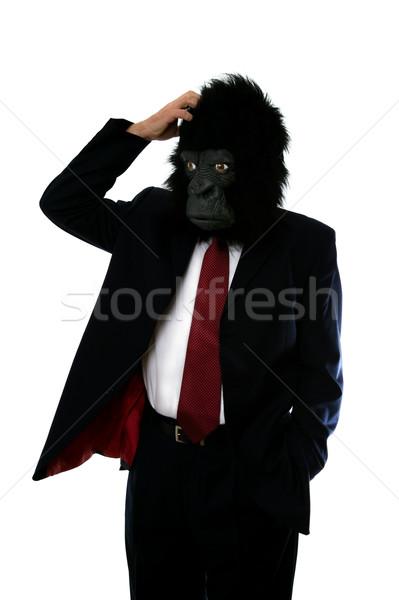 Confusi gorilla uomo imprenditore maschera business Foto d'archivio © RTimages
