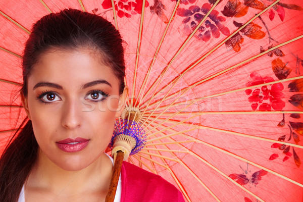 Barna hajú nő kínai esernyő szépség lövés Stock fotó © RTimages