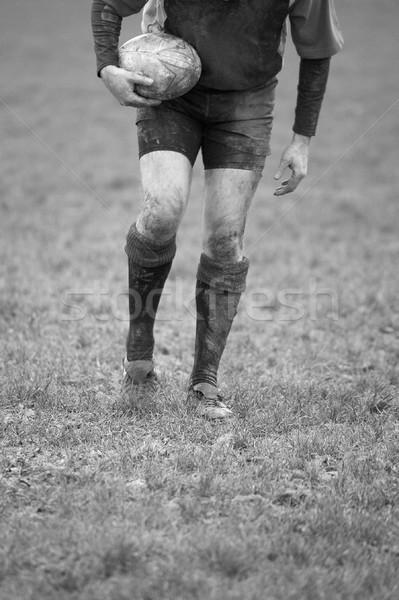 Rugby siyah beyaz görüntü oyuncu Stok fotoğraf © RTimages