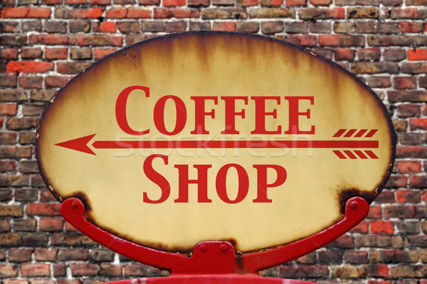 Retro sign Coffee shop Stock photo © RTimages
