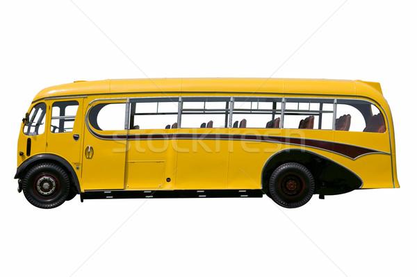 Vintage желтый автобус изолированный школьный автобус белый Сток-фото © RTimages
