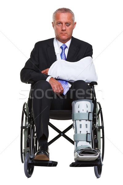 Zdjęcia stock: Ranny · biznesmen · wózek · odizolowany · Fotografia · posiedzenia