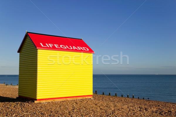 Ratownik chata stacja plaży Świt morza Zdjęcia stock © RTimages