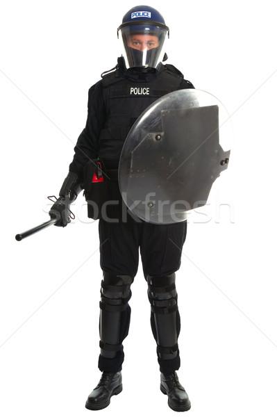 Foto stock: Polícia · motim · oficial · policial · completo · engrenagem
