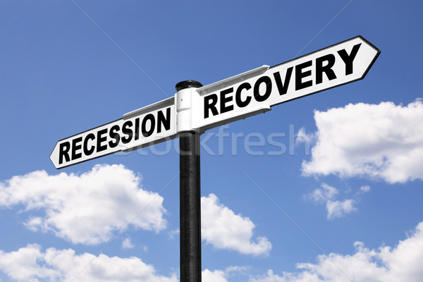 Recession Recovery signpost Stock photo © RTimages