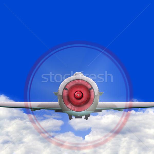 Stock fotó: Vadászrepülő · repülőgép · öreg · propeller · repülés · fölött