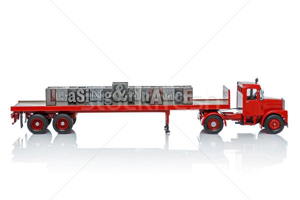Leasing finansów ciężarówka zabawki słowa powrót Zdjęcia stock © RTimages