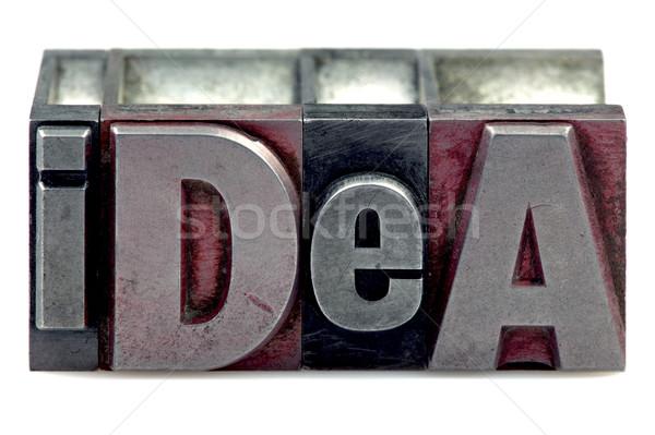 Magasnyomás ötlet szó öreg nyomtatás kockák Stock fotó © RTimages