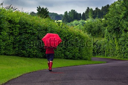 Woman with red umbrella on an overcast day. Stock photo © RTimages