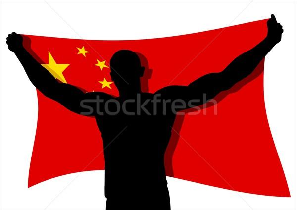 Ganhar homem descobrir bandeira China Foto stock © rudall30