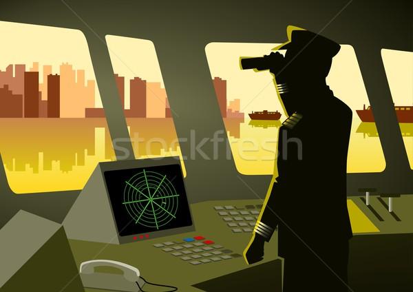 Buque ciudad mar barco horizonte silueta Foto stock © rudall30