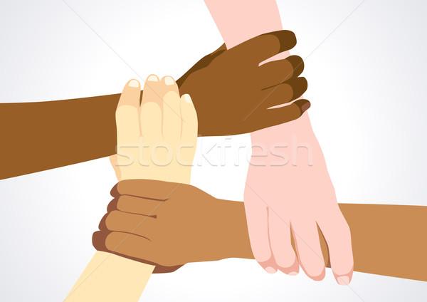 Unidade diversidade estoque ilustração pessoas de mãos dadas Foto stock © rudall30