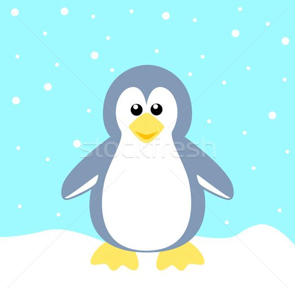 Pinguim estoque vetor azul crianças natureza Foto stock © rudall30