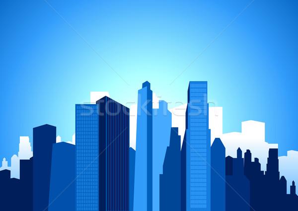 Ilustração escritório construção pôr do sol viajar Foto stock © rudall30