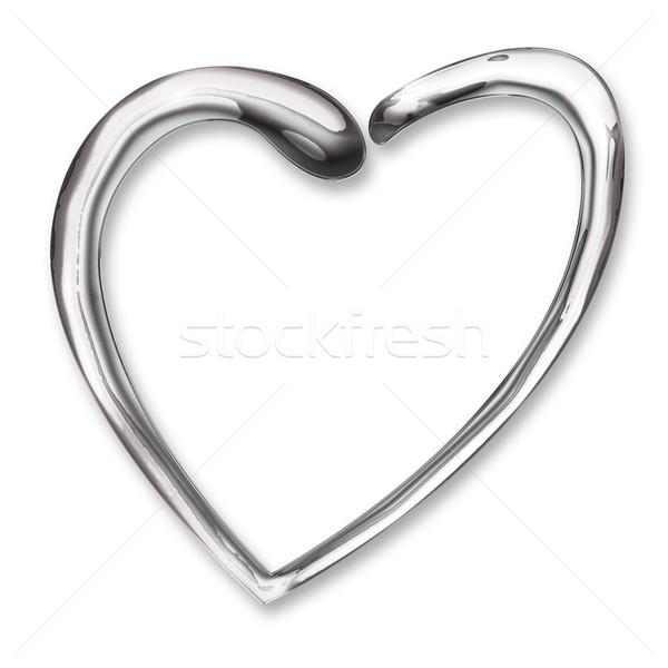 Liquide chrome coeur illustration mariage amour Photo stock © rudall30