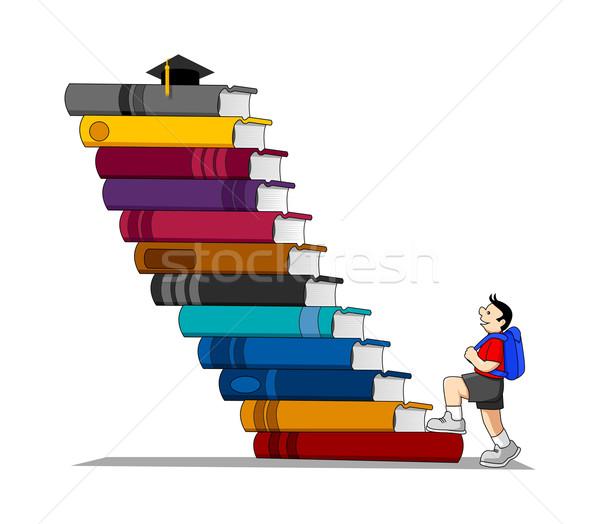 Educación stock vector nino escalada libros Foto stock © rudall30