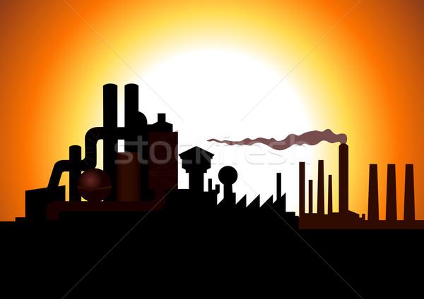 Fábrica silhueta ilustração edifício pôr do sol fumar Foto stock © rudall30