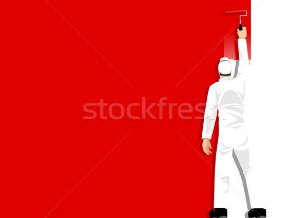 Pintar vermelho ilustração homem pintura parede Foto stock © rudall30