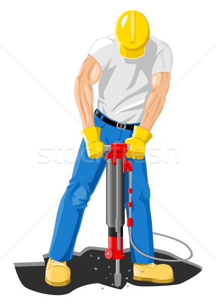 Perfuração estoque vetor trabalhador estrada construção Foto stock © rudall30