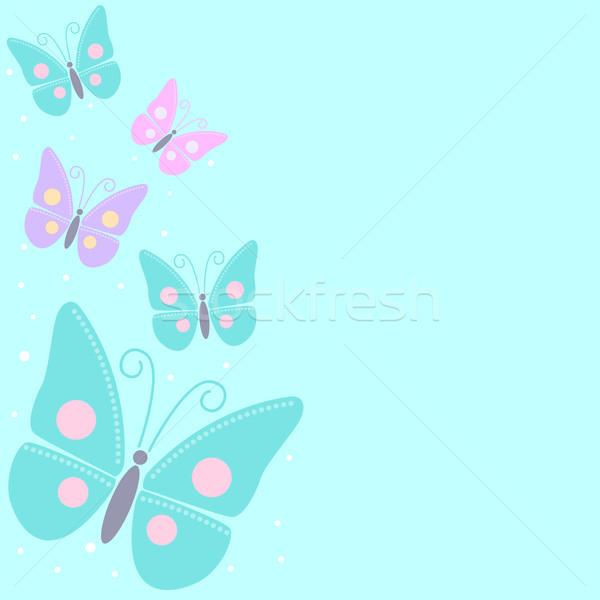 Borboletas desenho animado azul primavera casamento borboleta Foto stock © rudall30