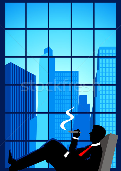 Superior ilustración hombre fumar cigarro ventana Foto stock © rudall30