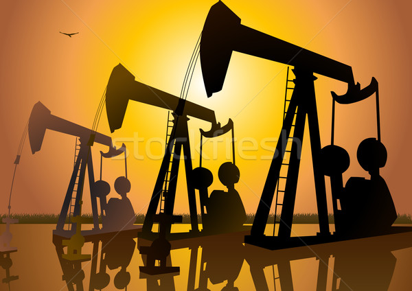 Oleju wiercenie sylwetka ilustracja maszyn działalności Zdjęcia stock © rudall30