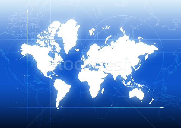 Globale verbinding Blauw radar scherm wereldkaart Stockfoto © rudall30
