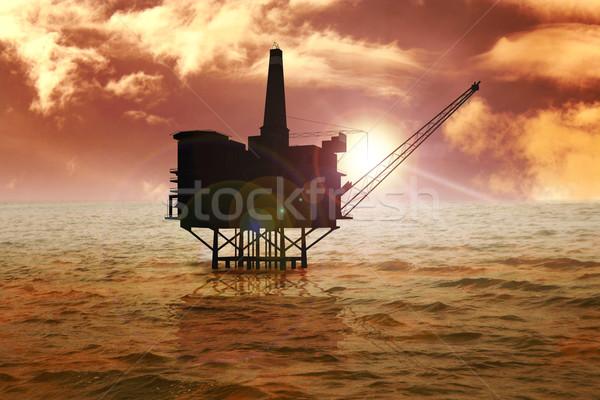 Offshore voorraad afbeelding booreiland bouw technologie Stockfoto © rudall30
