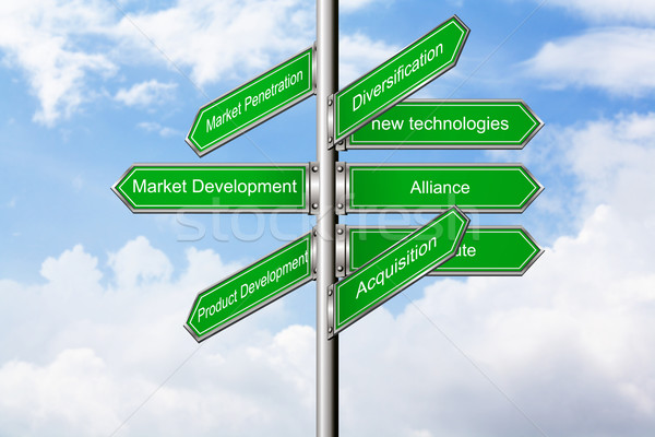Marketing direção nuvens verde azul mercado Foto stock © rudall30