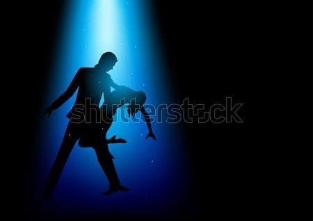 Dans ışık siluet örnek çift kadın Stok fotoğraf © rudall30