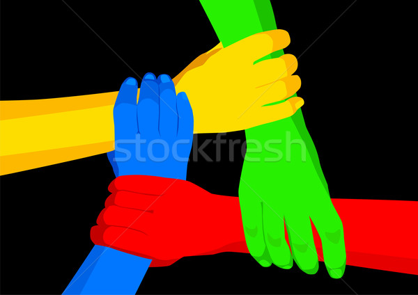 Unidade diversidade estoque vetor pessoas de mãos dadas Foto stock © rudall30