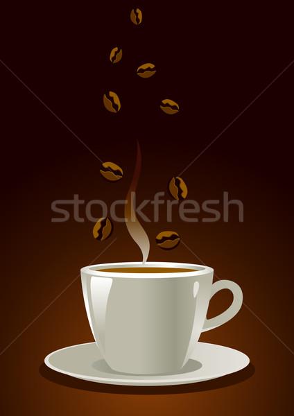 Café ilustração copo grãos de café fundo beber Foto stock © rudall30