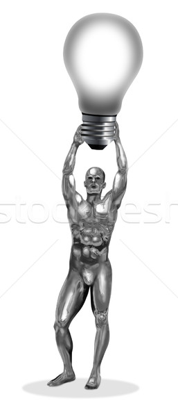 Cromo homem ilustração bulbo fundo Foto stock © rudall30