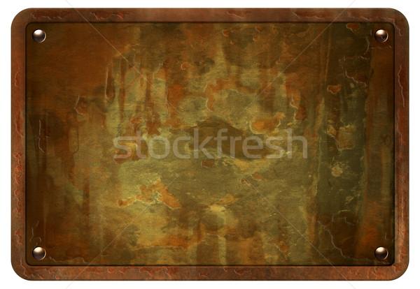 Rozsdás fém tányér stock kép izolált Stock fotó © rudall30