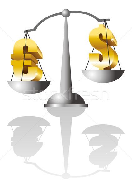 Dólar euro ilustração moeda escala financiar Foto stock © rudall30
