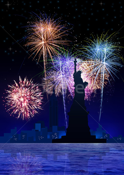 New York Fire Works Stock photo © rudall30
