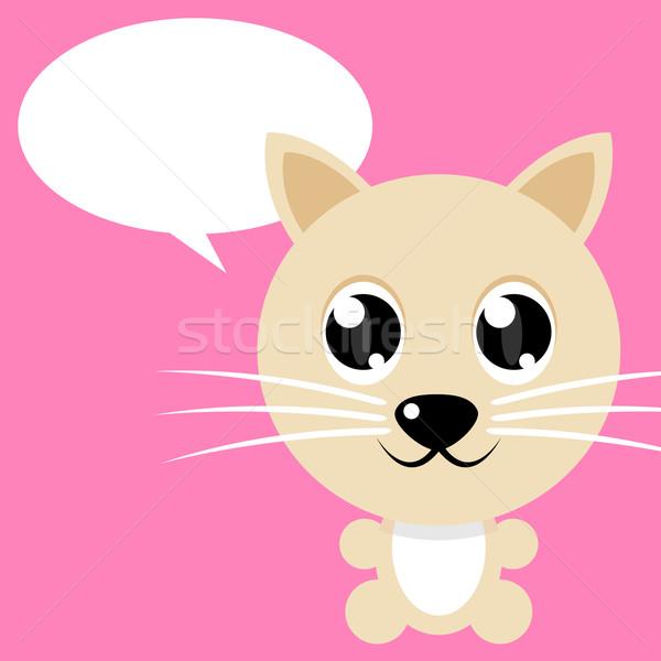 Gato simples desenho animado rosa fundo cor Foto stock © rudall30